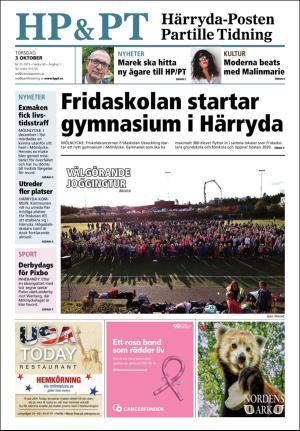 Förstasida Härryda-Posten och Partille Tidning